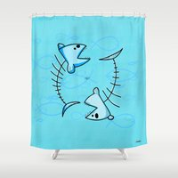 pisces Shower Curtains featuring Pisces by Giuseppe Lentini