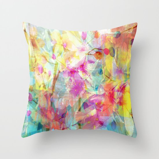 Colorful Painterly Spring Floral Abstract Throw Pillow by Judy Palkimas Society6