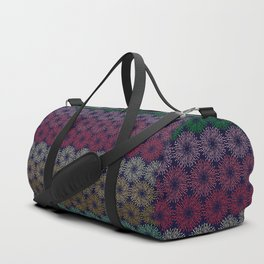 A pattern of composed colored fireworks. Duffle Bag