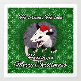 Christmas Opossum Art Print