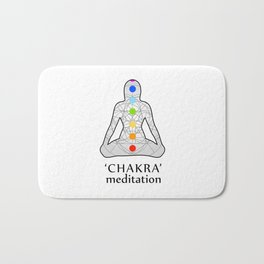 Woman in meditation with the seven chakras and its respective colors Bath Mat