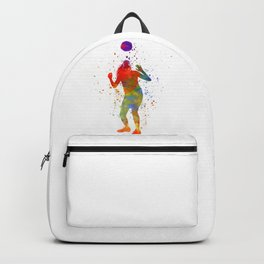 Woman soccer player 13 in watercolor Backpack