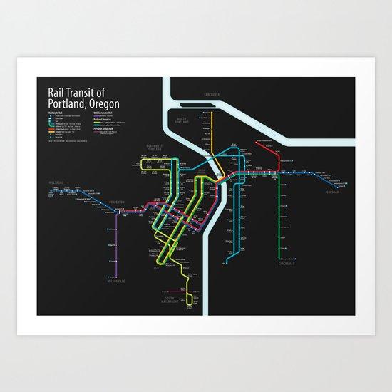 Rail Transit of Portland, Oregon Art Print