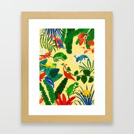 Nine Chameleons Hiding in the Tropics Framed Art Print
