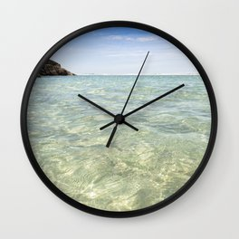 Clear blue, Pedn Vounder Beach, Cornwall Wall Clock