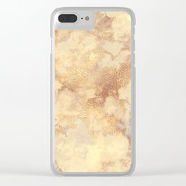 Elegant vintage faux gold boho chic marble Clear iPhone Case