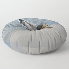 Mallard duck swimming in a turquoise lake 1 Floor Pillow