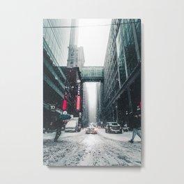 Urban Snowstorm Metal Print