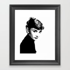 Audrey Hepburn Black and white Framed Art Print