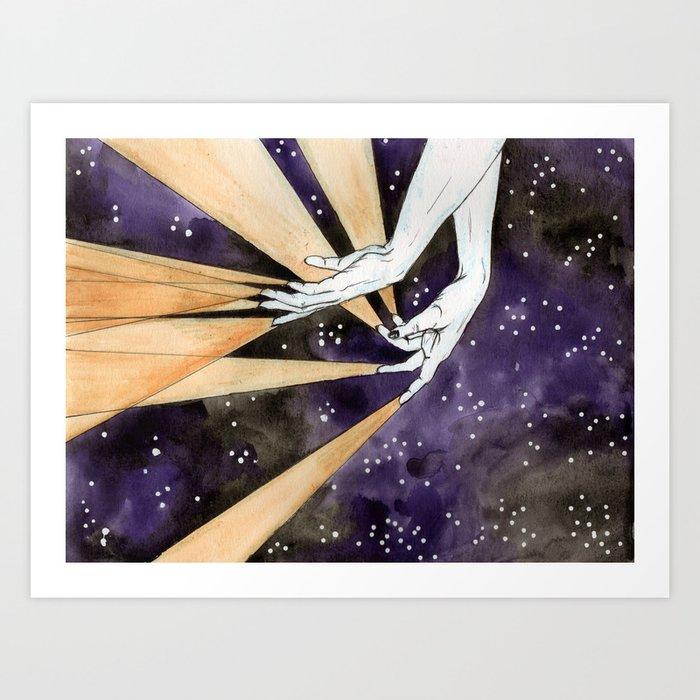 magic fingers in space Art Print