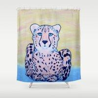 cheetah Shower Curtains featuring Cheetah by Maribeth