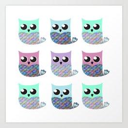 Mer-owls Art Print