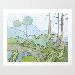 Duck-billed Dinosaur, Parasaurolophus Art Print