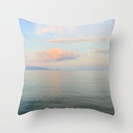 Calm silver sea and coloured clouds Throw Pillow