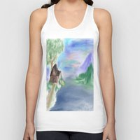 cabin Tank Tops featuring Peaceful Cabin by Christina Dugger