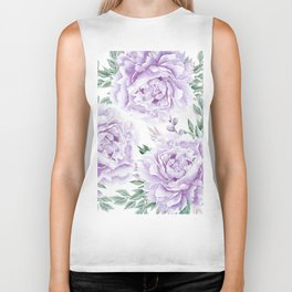 Pretty Purple Flower Garden Biker Tank