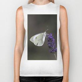 Cabbage butterfly on lavender flower Biker Tank