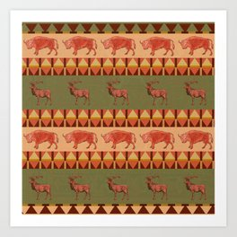 native pattern buffalo deer indigenous decoration Art Print