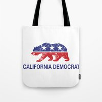 political Tote Bags featuring California Political Democrat Bear Distressed by Democrat