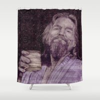the dude Shower Curtains featuring Dude. by Creative Crawlspace