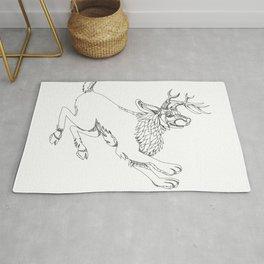 Jackalope Hopping Doodle Art Rug