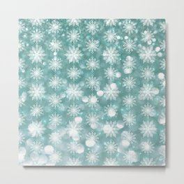 Holiday Teal and Flurries Metal Print