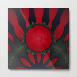 Red and Black Abstract Flower Metal Print