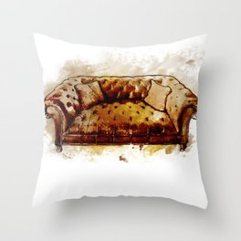 Man Cave Tufted Vintage Leather Sofa Throw Pillow