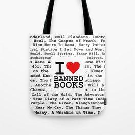I Heart Banned Books Tote Bag