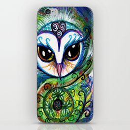 Owl Art:  The Shining One, original illustration by Sheridon Rayment iPhone Skin