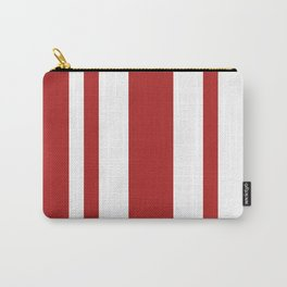 Mixed Vertical Stripes - White and Firebrick Red Carry-All Pouch