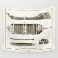 boats Wall Tapestries featuring Boats by Le petit Archiviste
