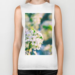 White Blossoms With Green Leaves Biker Tank