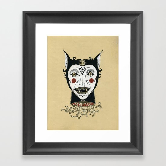 Cat Head with Worms Framed Art Print