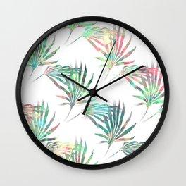 Palmetto Fronds Tropical Multicolor Pattern Wall Clock