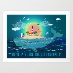 Home is where the lighthouse is Art Print