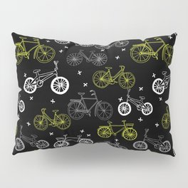 Bicycles cycle pattern black and white by andrea lauren Pillow Sham