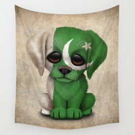 Cute Puppy Dog with flag of Pakistan Wall Tapestry