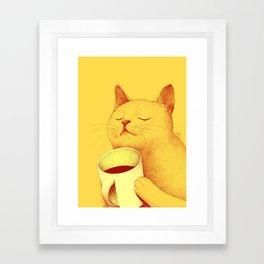 Coffe cat Framed Art Print