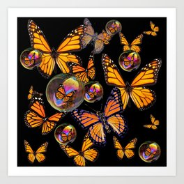 SURREAL MONARCH BUTTERFLIES & IRIDESCENT SOAP BUBBLES ON  BLACK ART Art Print