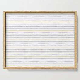 yellow and grey stripes Serving Tray