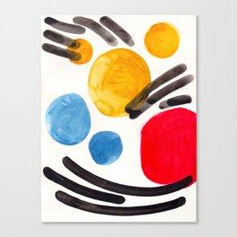 Mid Century Modern Abstract Juvenile childrens Fun Art Primary Colors Watercolor Minimalist Pop Art Canvas Print
