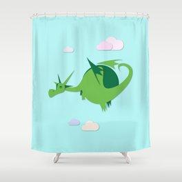 Green fat dragon Shower Curtain