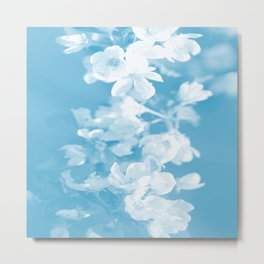 Spring Atmosphere White Flowers Sky Blue Background #decor #society6 #homedecor Metal Print