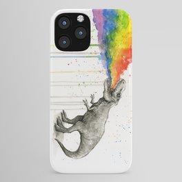 T-Rex Dinosaur Vomits Rainbow iPhone Case