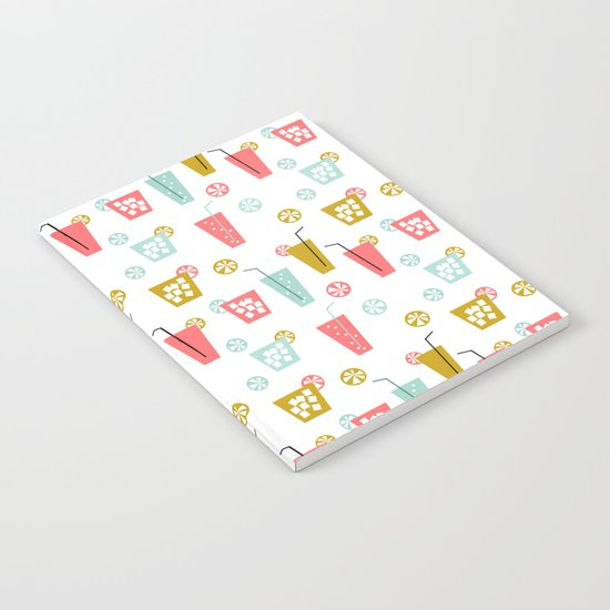 Happy Hour - Drinks cocktails art design illustration modern bright happy bar tiki hawaii island  Notebook