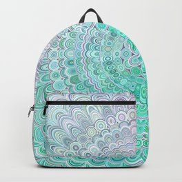 Turquoise Ice Flower Mandala Backpack
