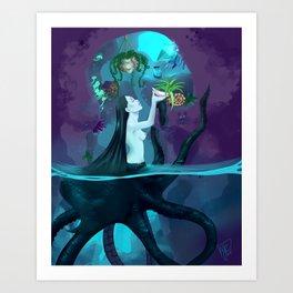 Plant collecting mermaid Art Print