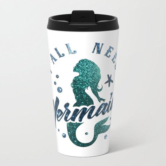 Mermaids - aqua and green glitter design Metal Travel Mug