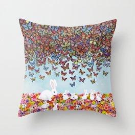 bunnies, flowers, and butterflies Throw Pillow